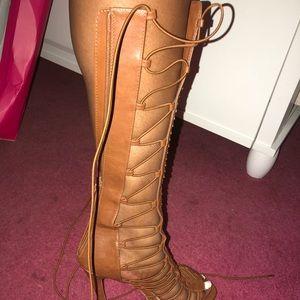 Tall Cognac dress sandals